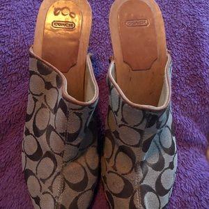 Coach Ladies Wooden sole/heel slip on clogs